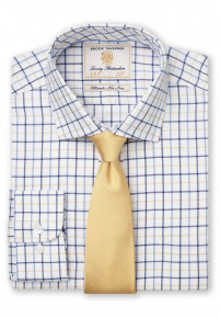 """35"""" Sleeve White With Navy, Blue And Yellow Check Shirt"""