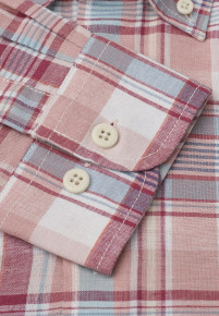 Long And Short Sleeve Blue, Rose, Corn and Mint Check Button Down Collar Shirt
