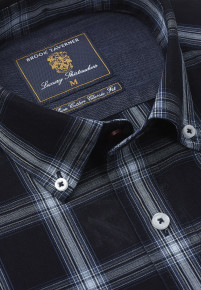 Classic And Tailored Fit Navy And Blue Check Button Down Collar Single Cuff Shirt