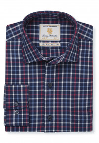 Navy With Red, White And Blue Check Single Cuff Shirt