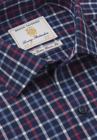 """33.5"""" Sleeve Navy With Red, White And Blue Check Single Cuff Shirt"""
