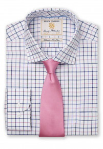 """35"""" Sleeve Navy, Blue And Pink Check Shirt"""