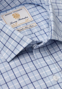 """35"""" Sleeve Navy, Blue And White Check Shirt"""