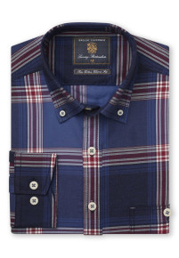 Classic And Tailored Fit Blue With Red Check Single Cuff Shirt