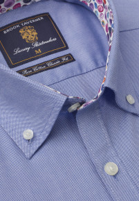 Long And Short Sleeve Navy Oxford With Coloured Trim Shirt