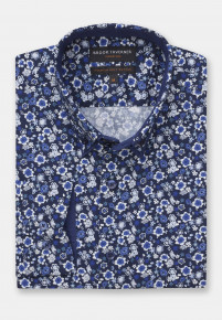 Navy With Blue and White Flower Print Shirt