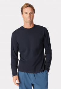 Arnold Long Sleeve Navy Crew Neck T-Shirt