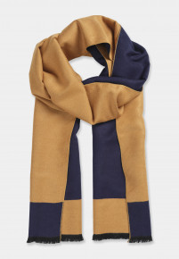 Double Faced Navy and Caramel Scarf