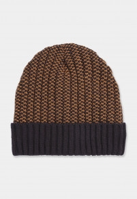 Navy and Caramel Knitted Beanie