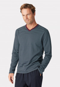 Embsay Long Sleeve Navy and Denim Blue Stripe V-Neck T-Shirt