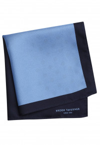 Sky And Navy Pattern 100% Silk Hanky