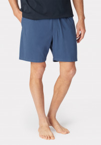 Hawes Denim Blue Cotton Jersey Lounge Shorts