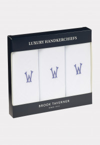 Handkerchief Monogrammed with Initial 'W' - Presentation Pack of Three