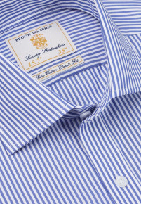 Navy Bengal Stripe 100% Easycare Cotton Button Cuff Shirt