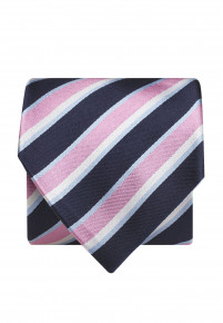 Navy And Pink Stripe 100% Silk Tie