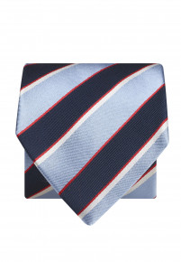 Navy And Sky Stripe 100% Silk Tie