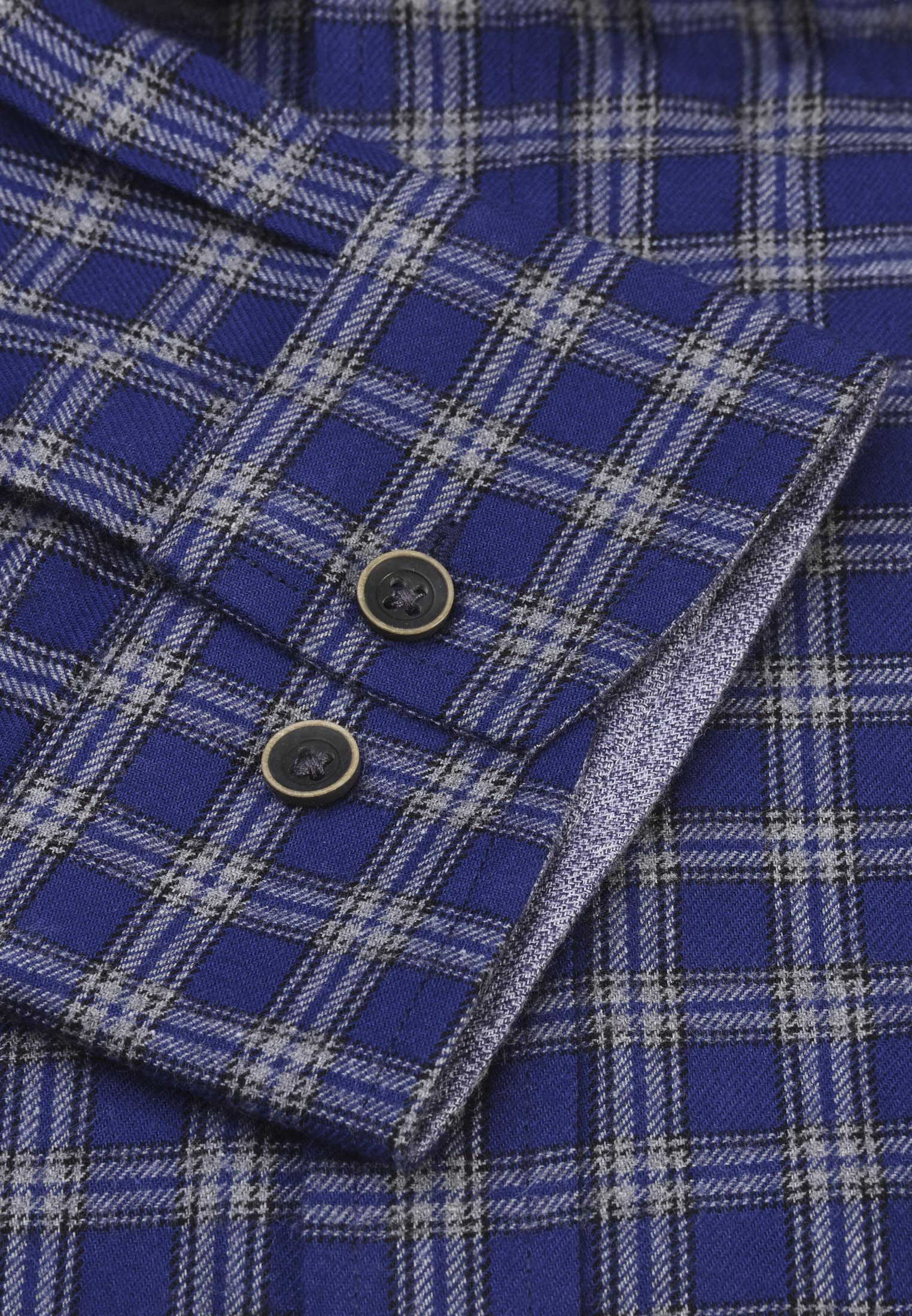 Classic and Tailored Fit Royal Blue with Dove Grey Overcheck Melange Brushed Cotton Shirt