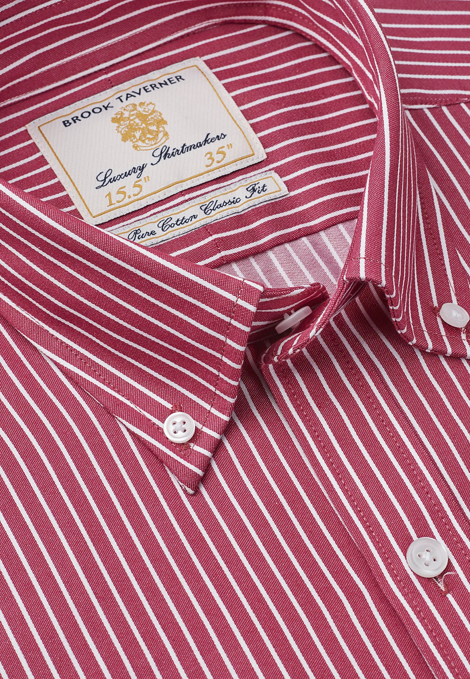 Wine Stripe Long Sleeve Single Cuff Shirt