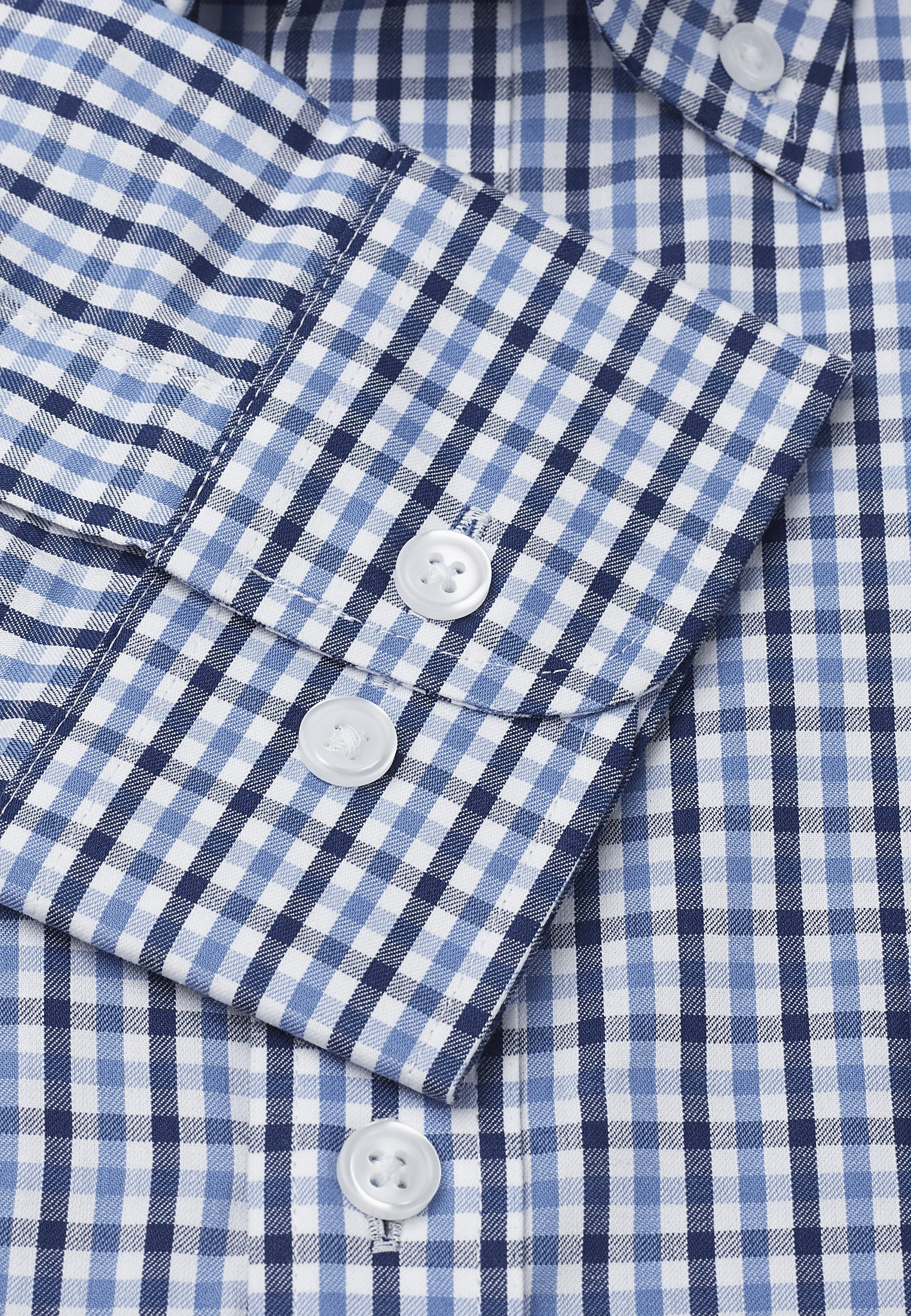 Blue And Navy Check Long Sleeve Single Cuff Shirt