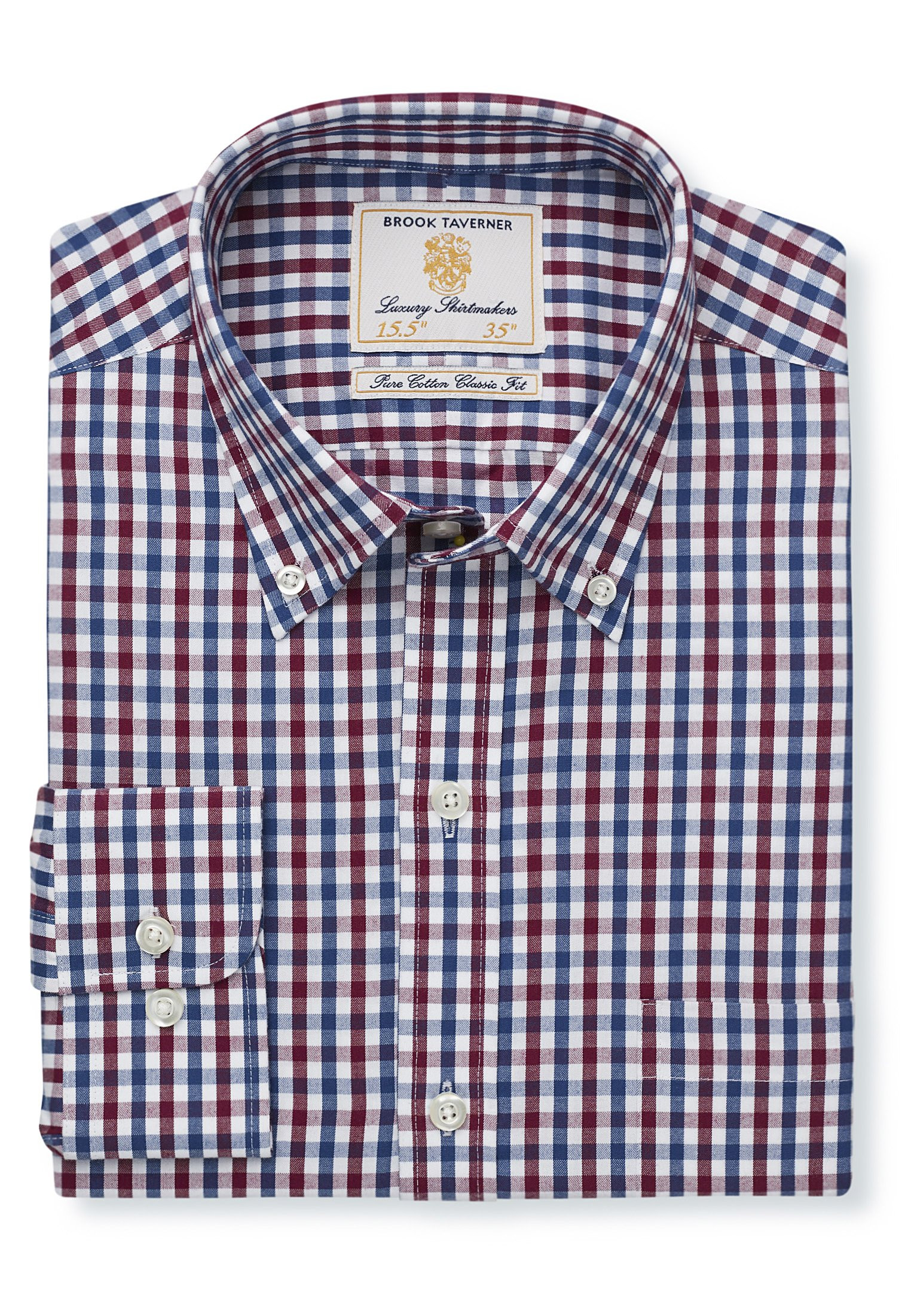 Non Iron Long Sleeve Navy And Red Gingham Single Cuff Shirt