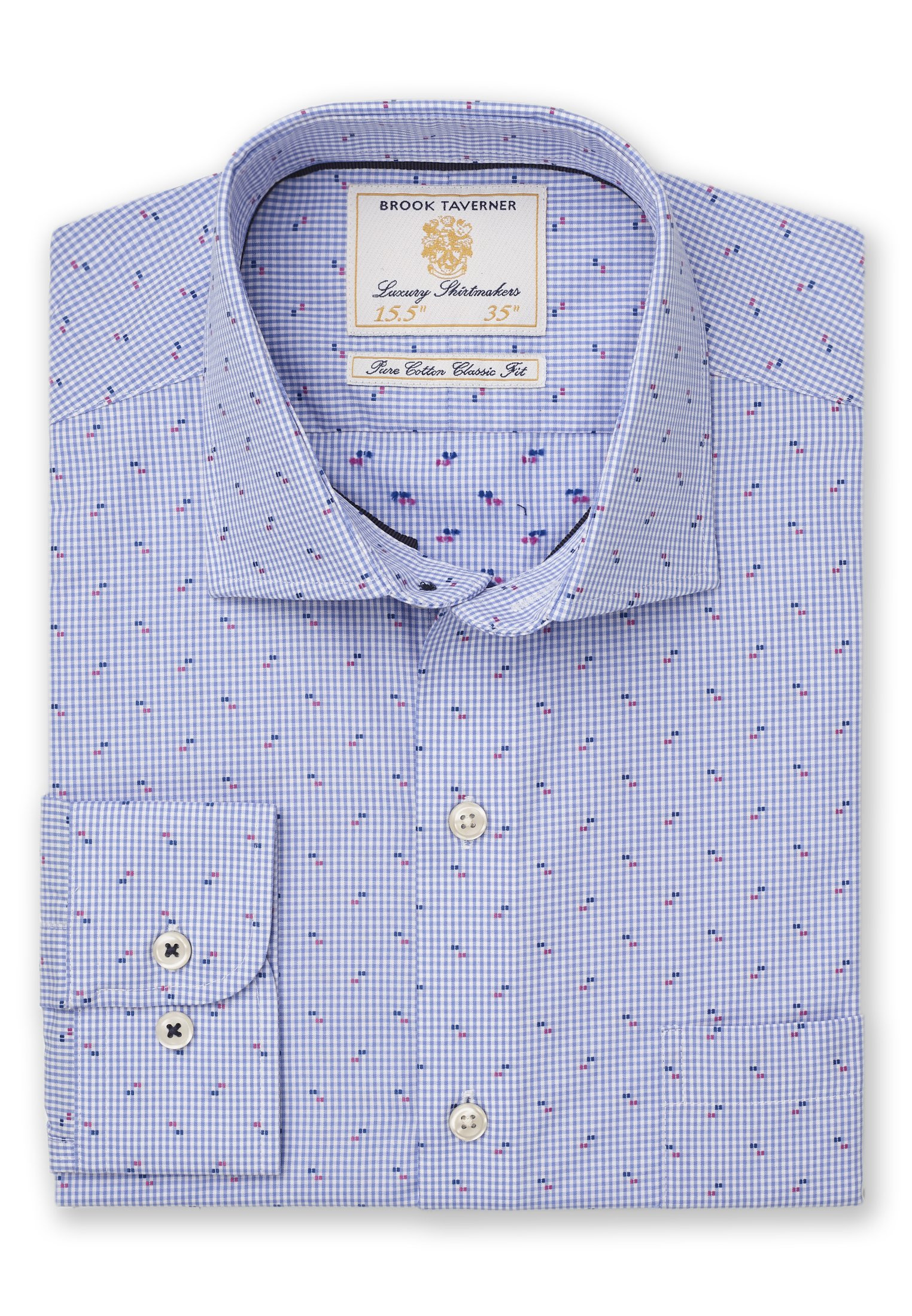 Classic And Tailored Fit Blue Micro Check with Navy And Blue Square Cuff Shirt