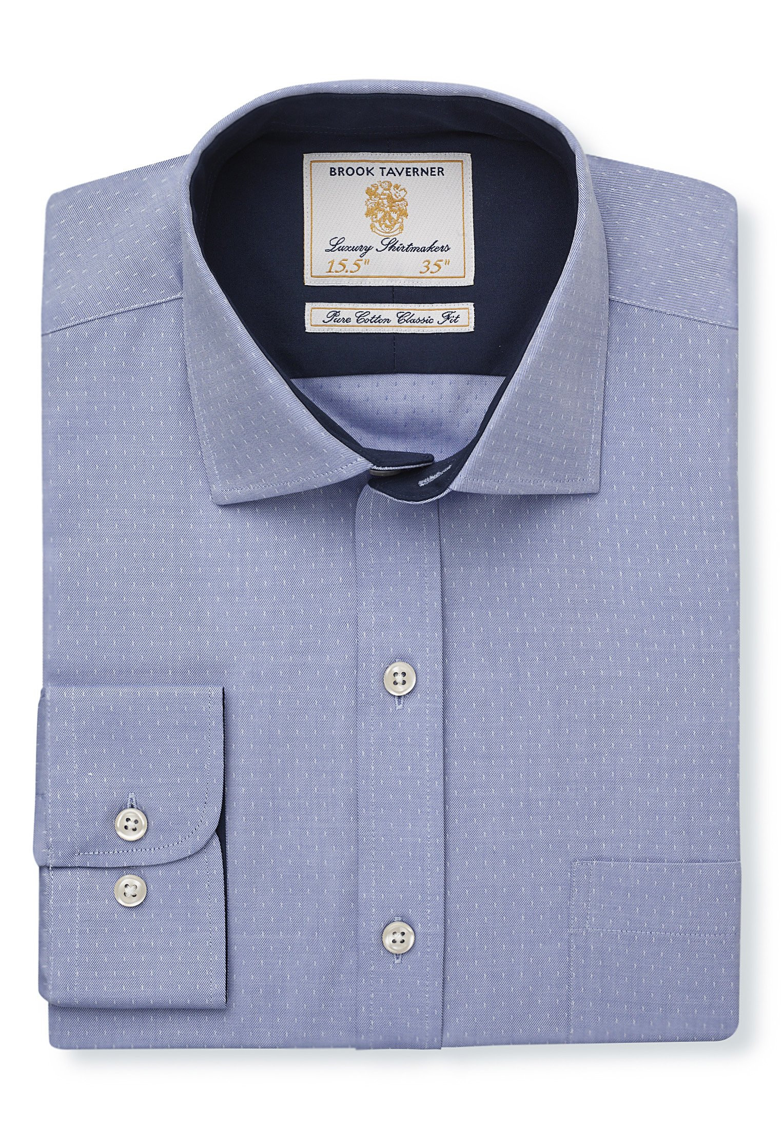 Classic And Tailored Fit Sky With White Dash Single Cuff Shirt