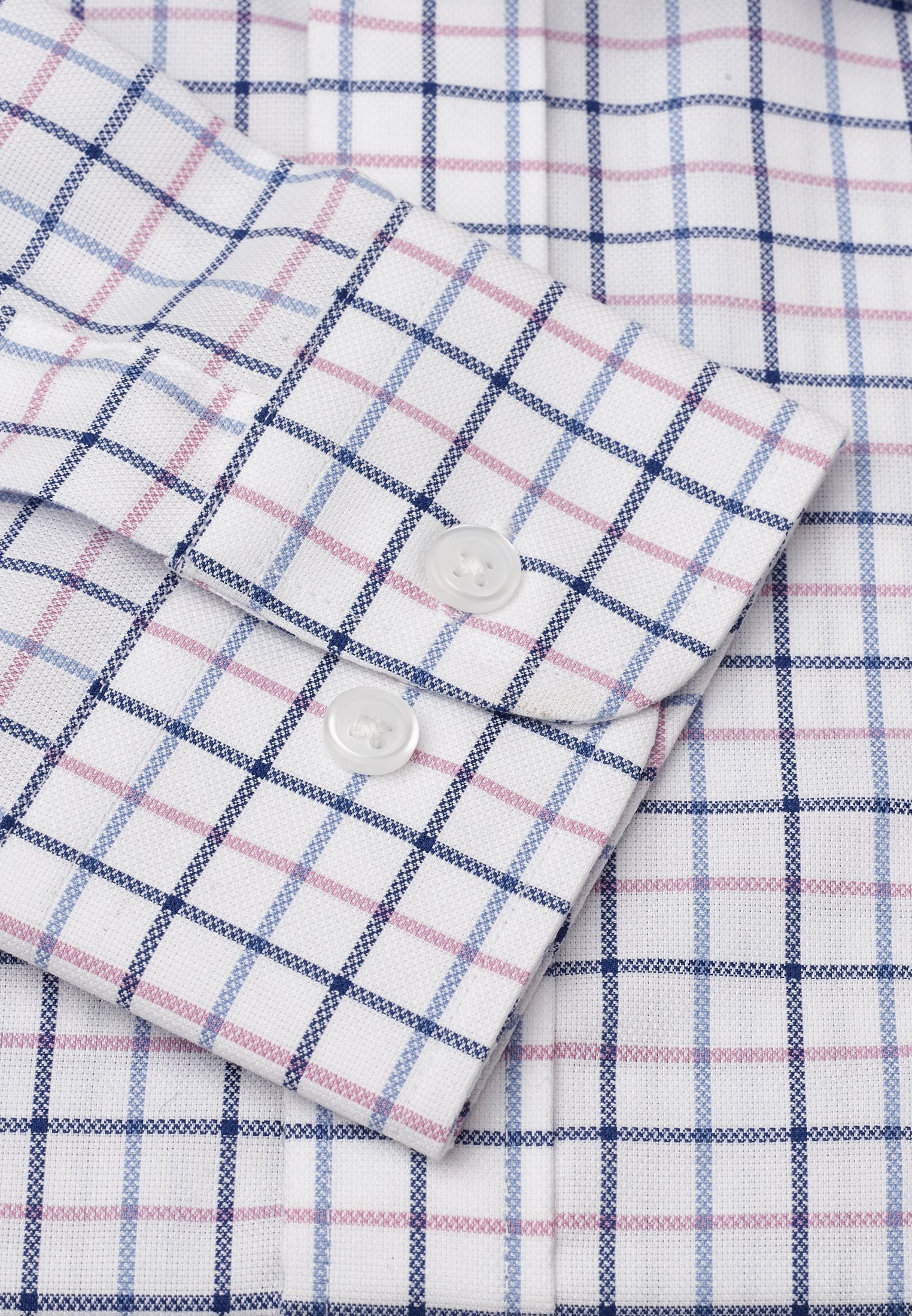 """33.5"""" Sleeve Navy, Blue And Pink Check Shirt"""