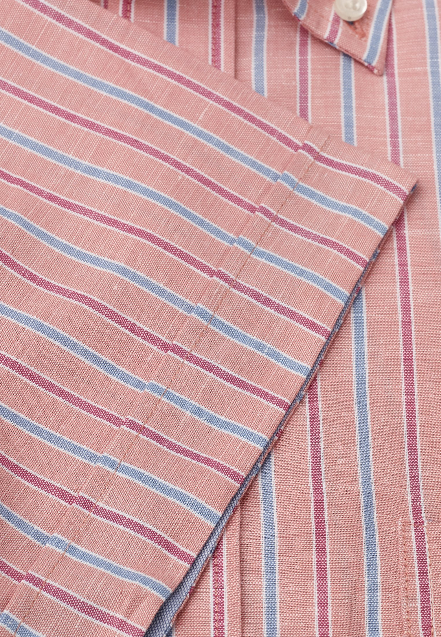 Short Sleeve Peach Rose And Blue Stripe Button Down Collar Shirt