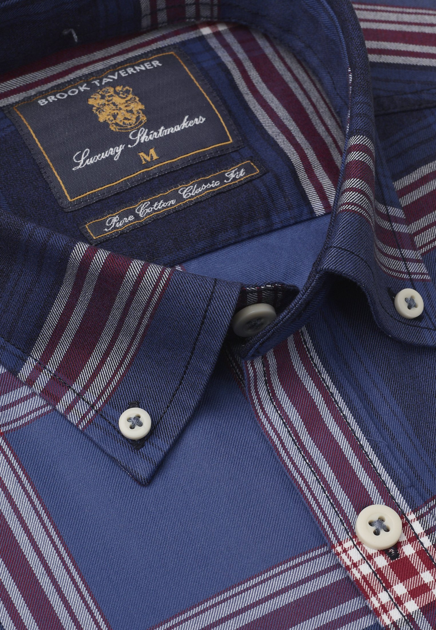 Tailored Fit Blue With Red Check Single Cuff Shirt