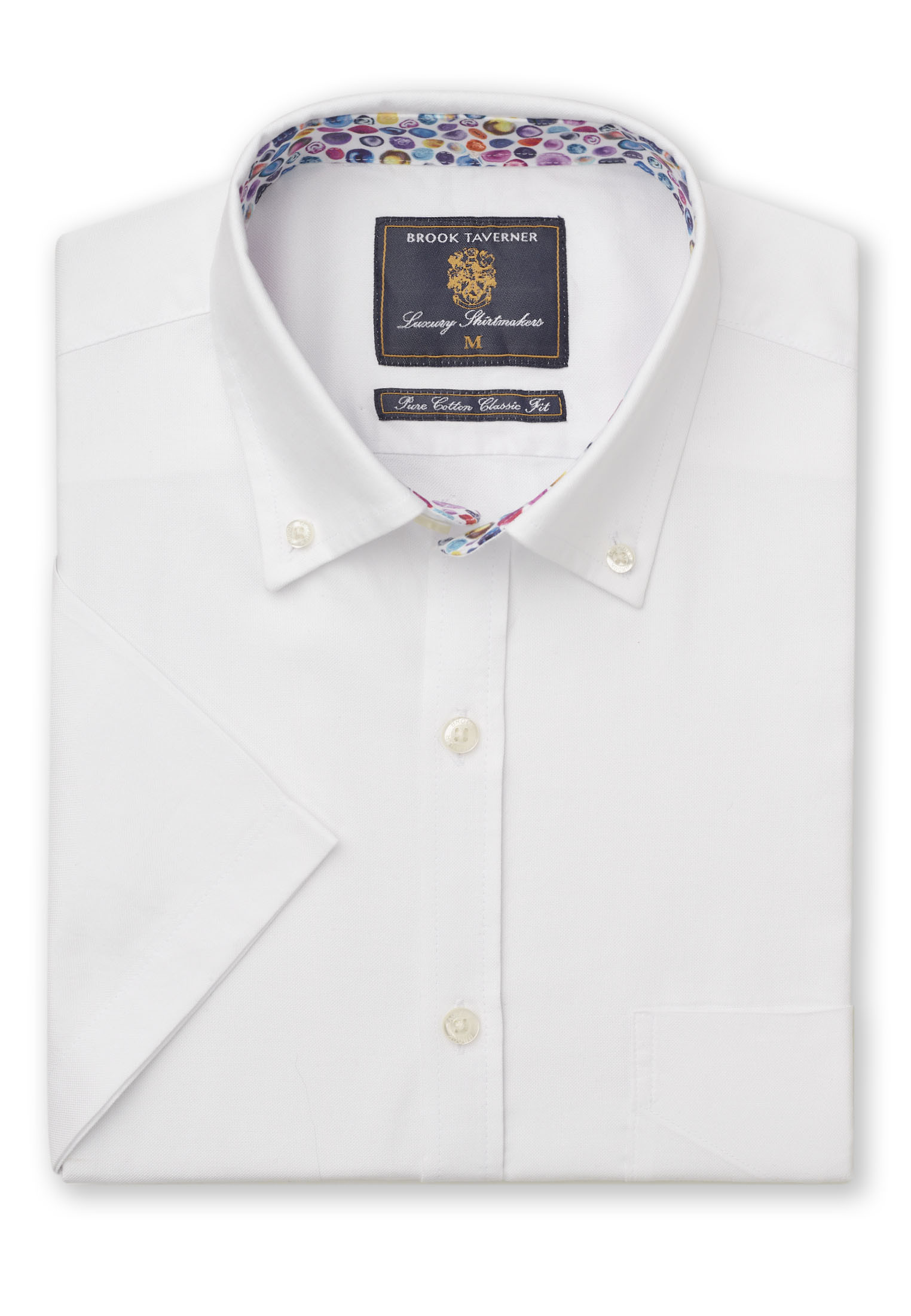 Long and Short Sleeve Classic and Tailored Fit White Oxford with Coloured Trim Shirt