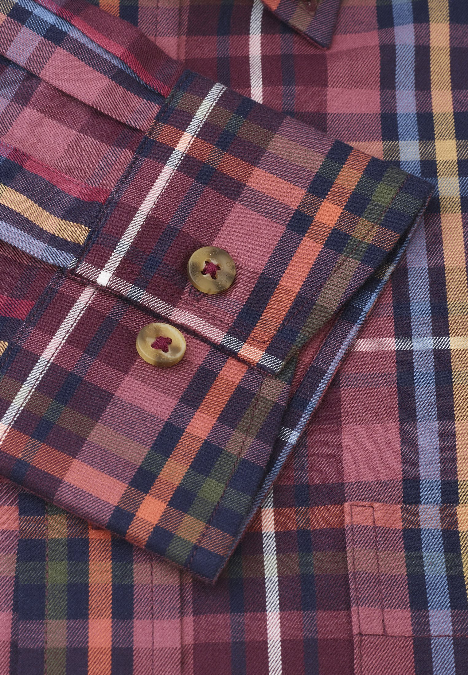 Cashmere Touch Wine With Mustard, Moss, Orange, Blue and Navy Check Shirt