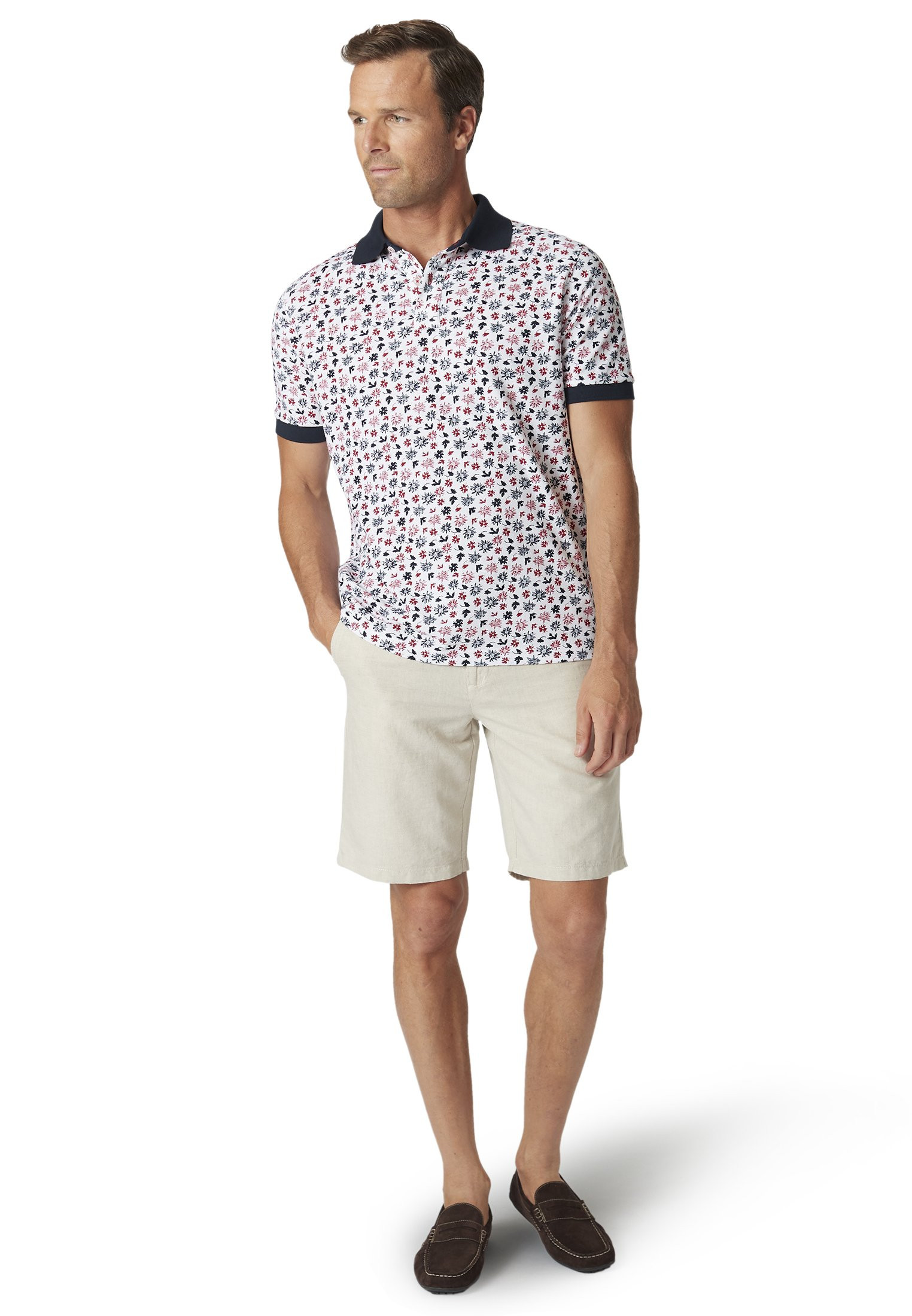 Bruton Red and Navy Flower Print Garment Washed Piqué Polo Shirt