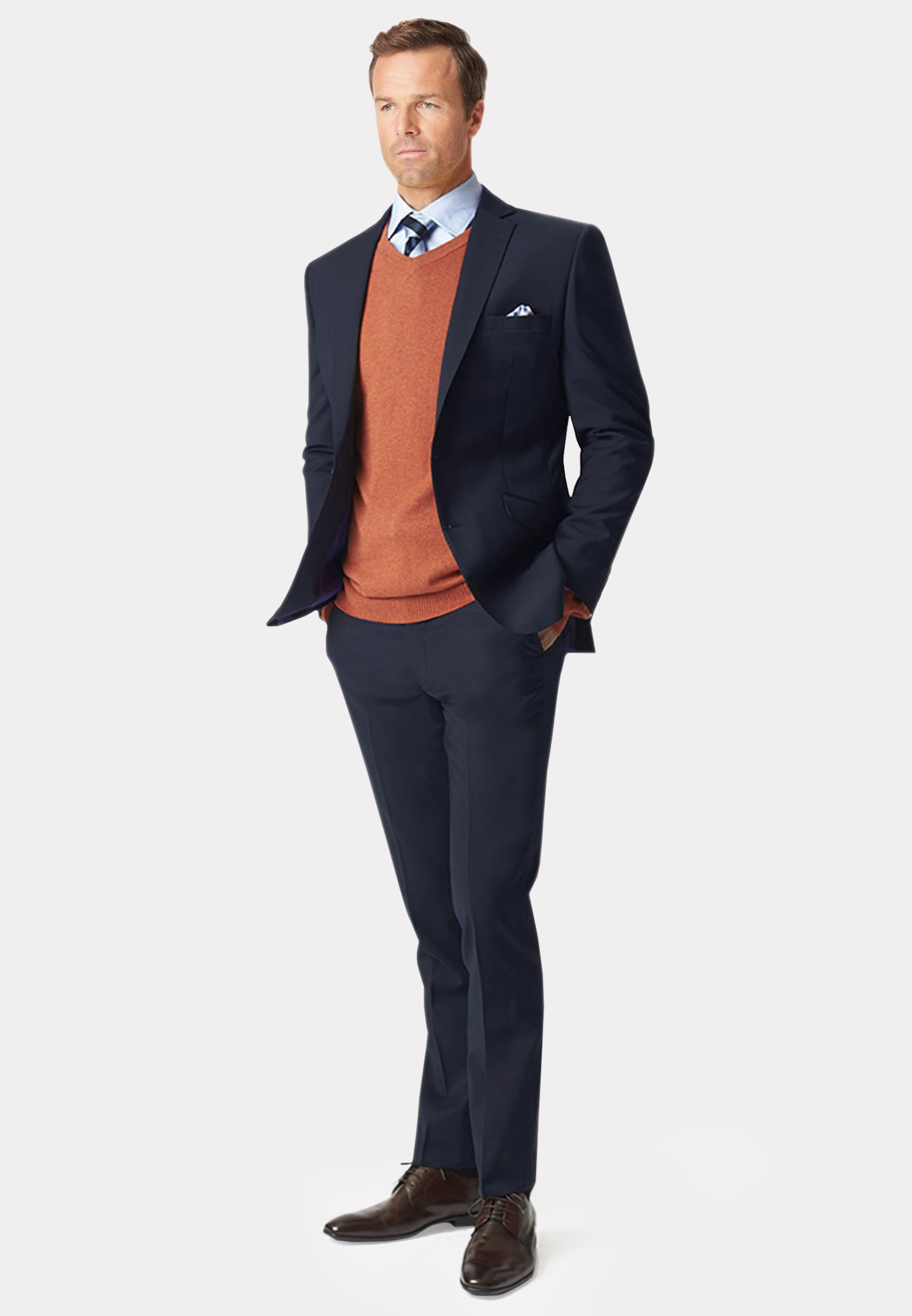 Cassino Navy Tailored Fit Washable Crease Resistant Suit