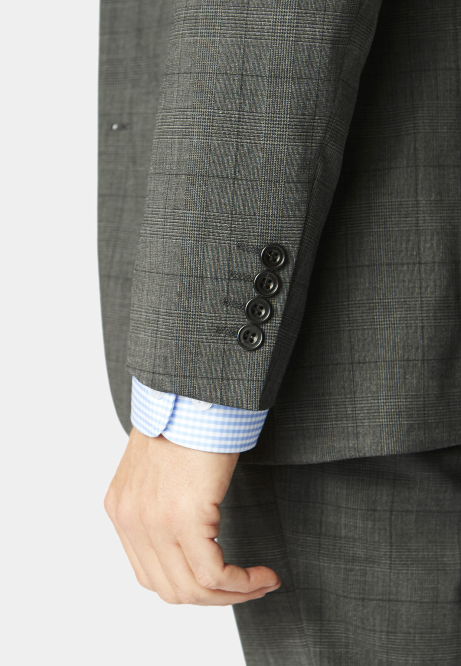 Cassino Grey Check Tailored Fit Washable Suit Jacket