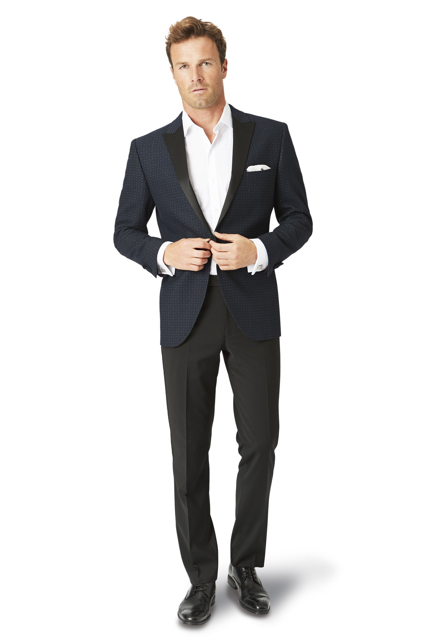 Spruce Navy Pattern Tailored Fit Jacket