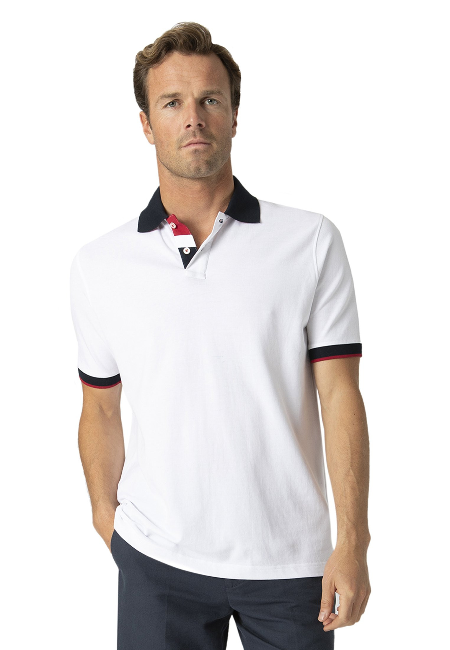 Lydford White With Navy Trim Pique Polo