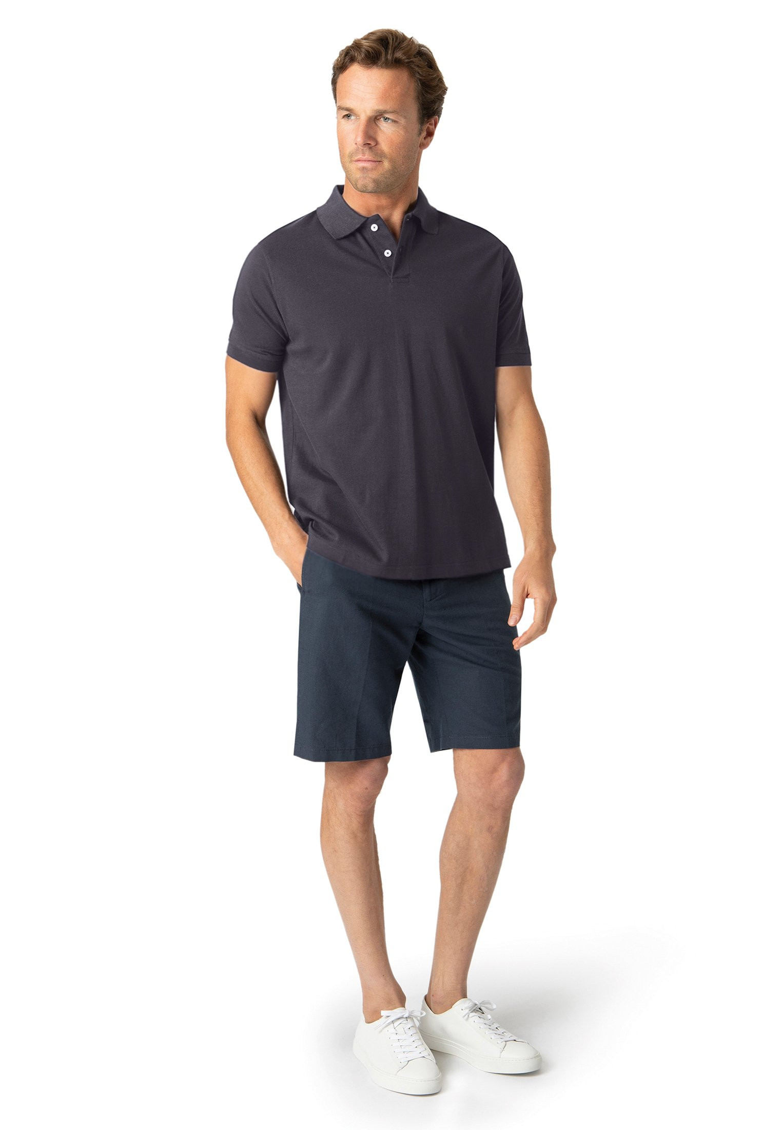Milford Navy 100% Pique Cotton Polo Shirt