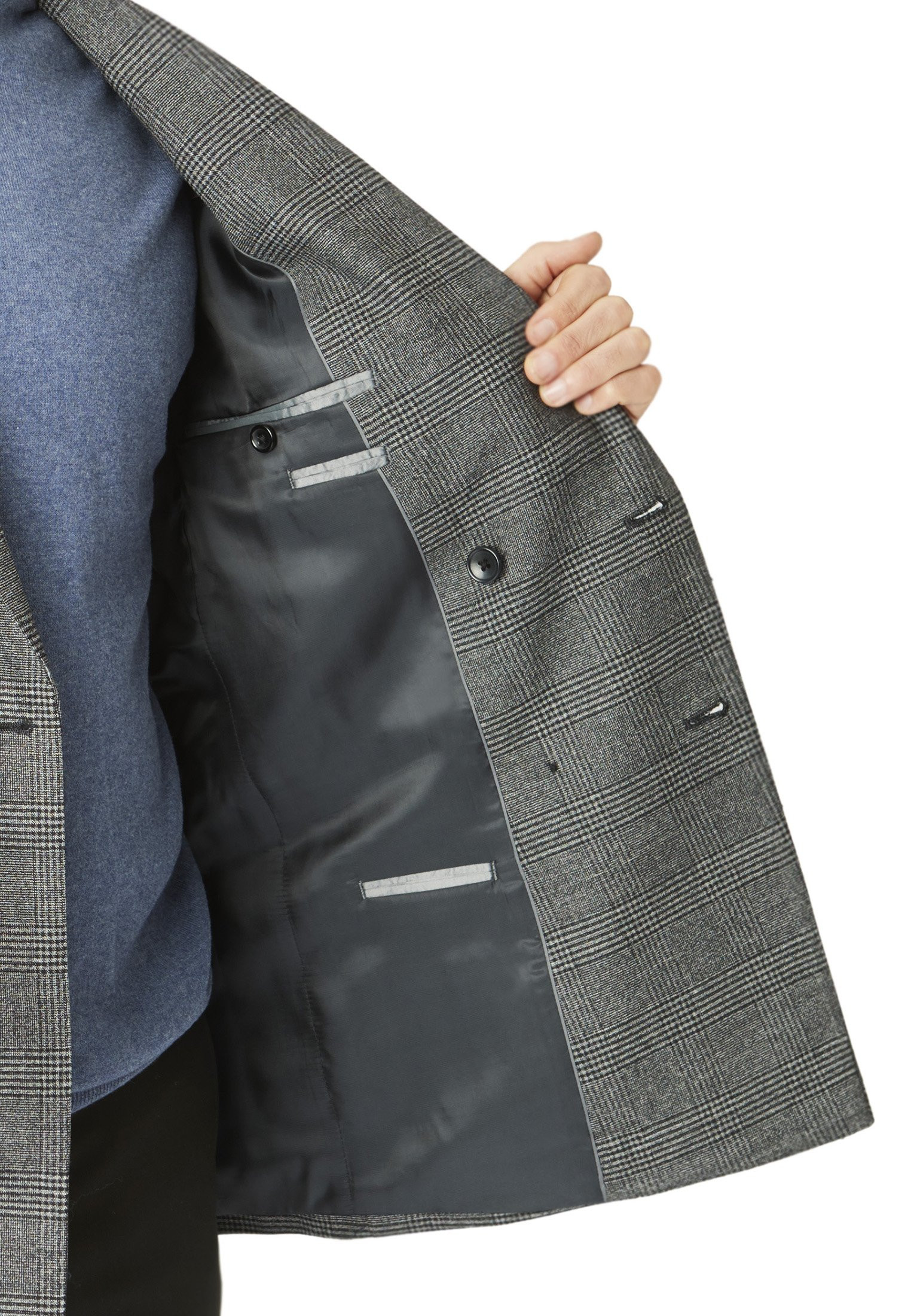 Royston Double Breasted Charcoal Check Suit