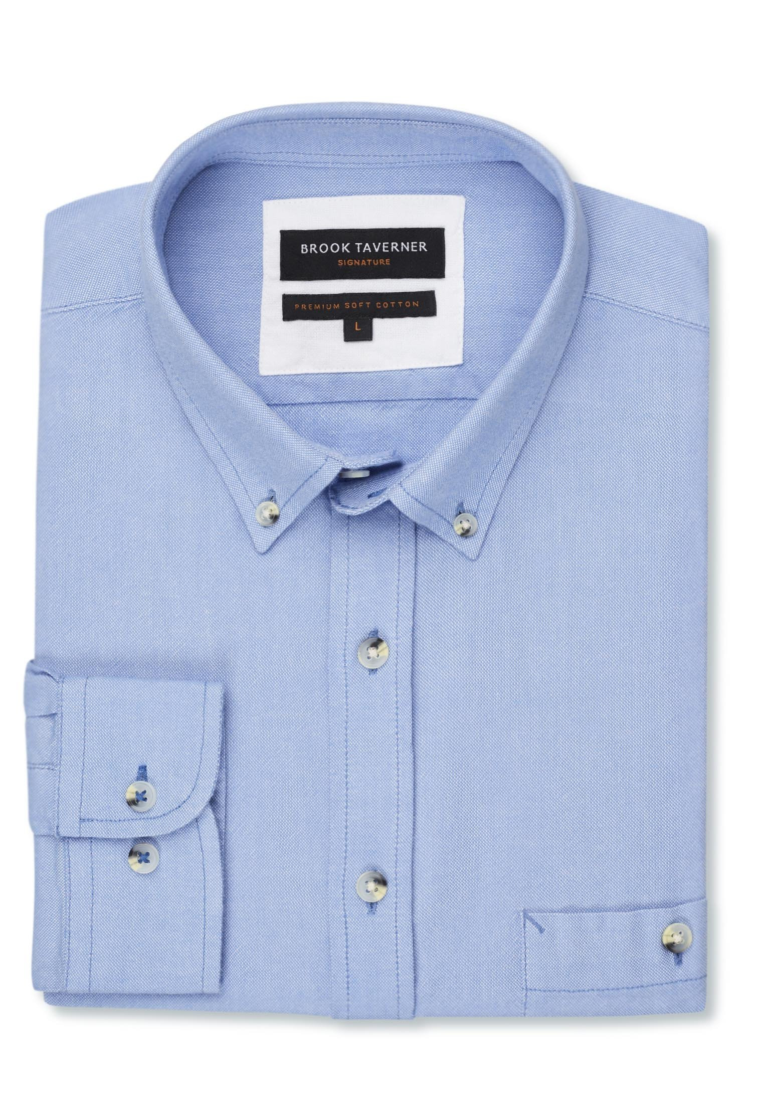 Long Sleeve Blue Soft Touch Oxford Button Down Collar Shirt