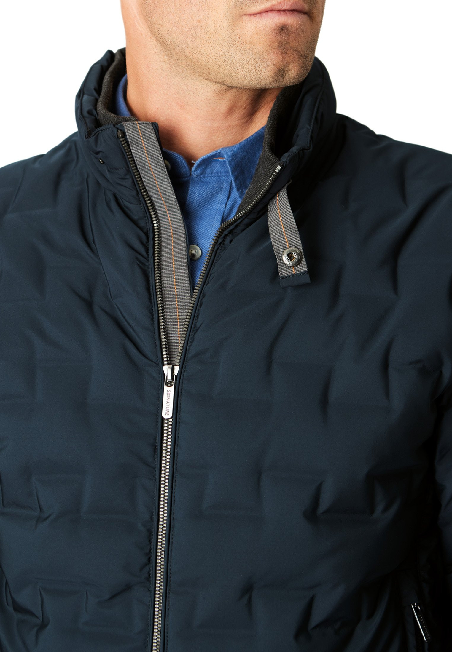 Navy Tamarind Embossed Casual Jacket