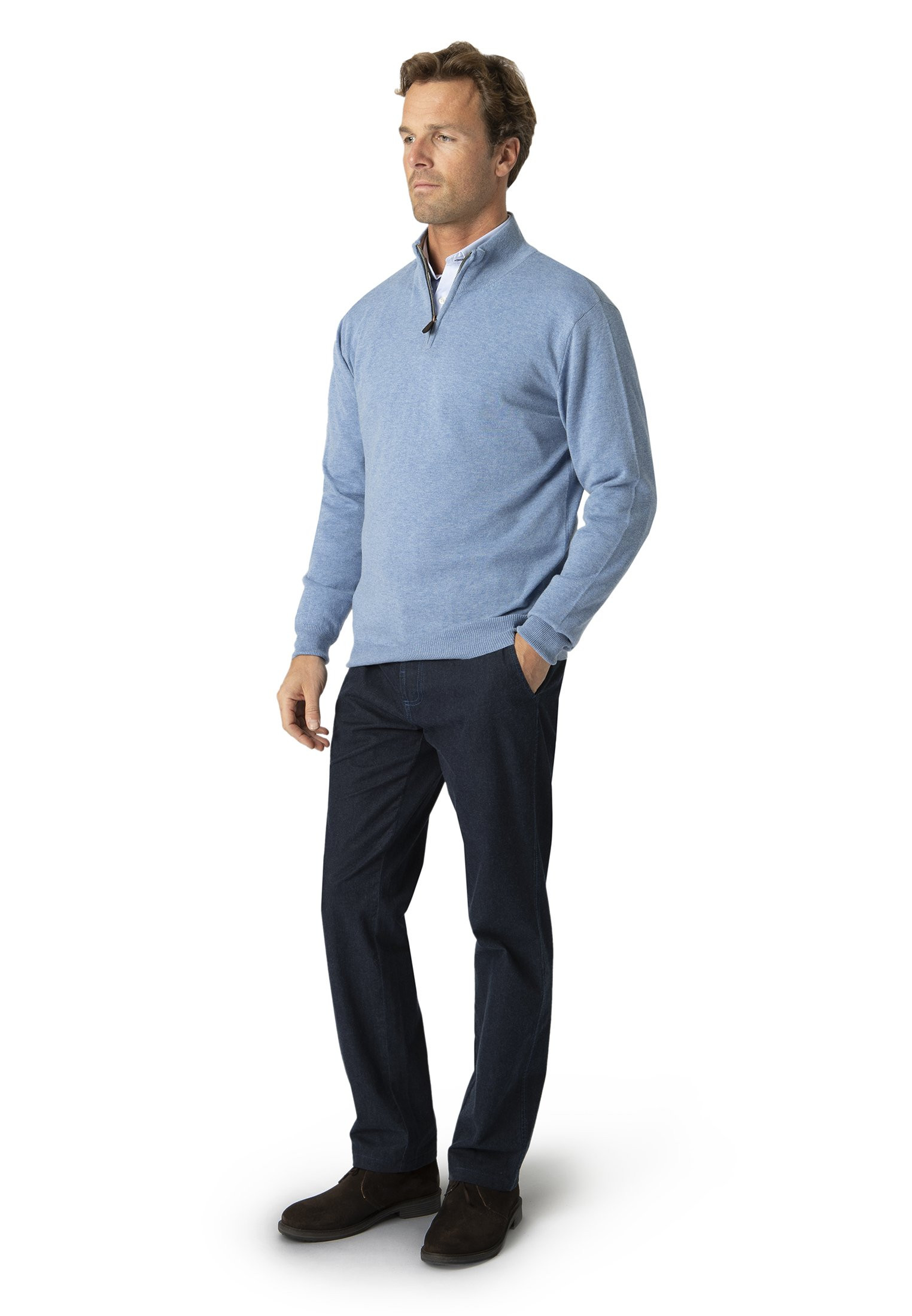 Sky Blue Taverham Zip Neck