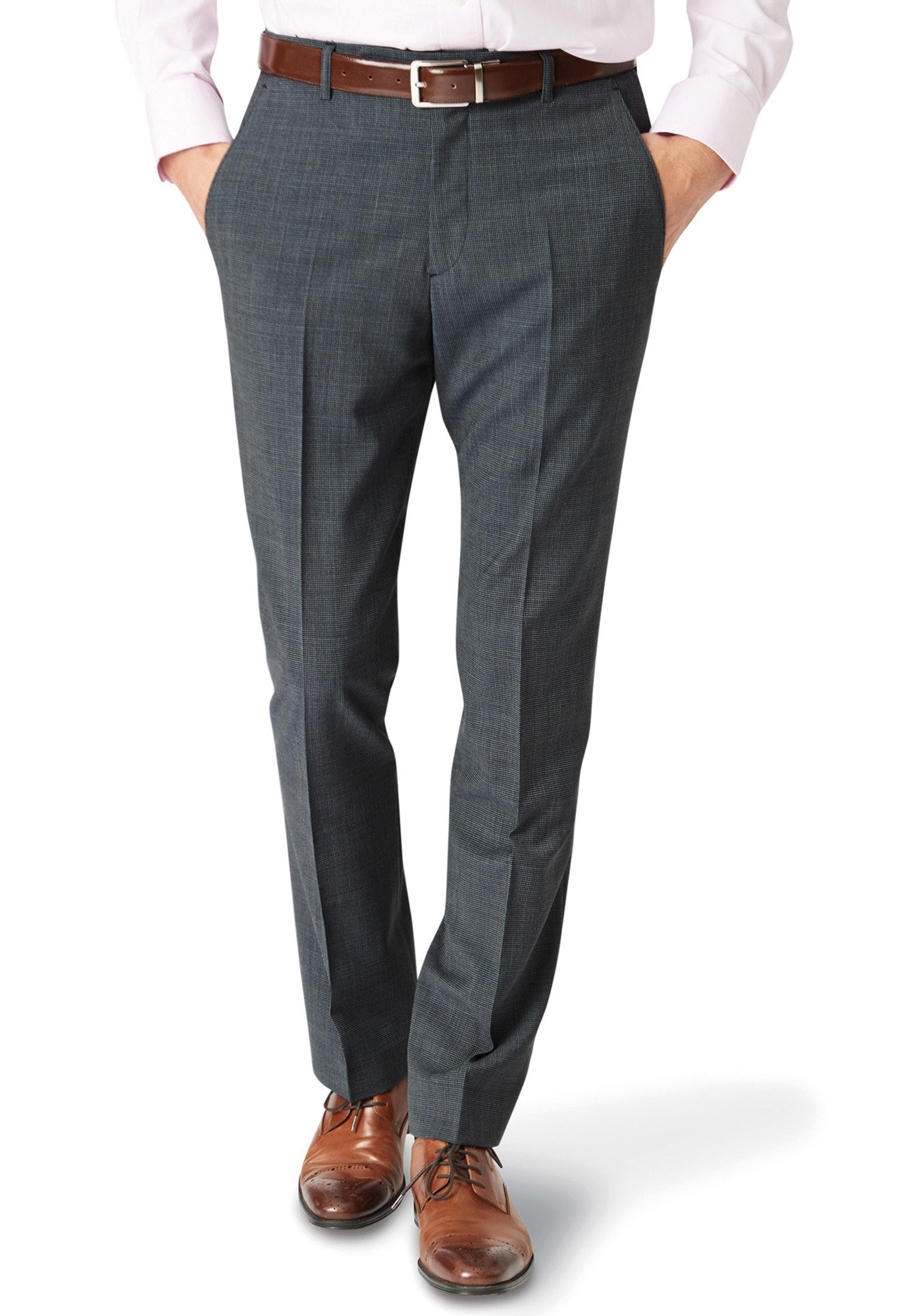 Charcoal Watson Wool-Rich Puppytooth Trouser