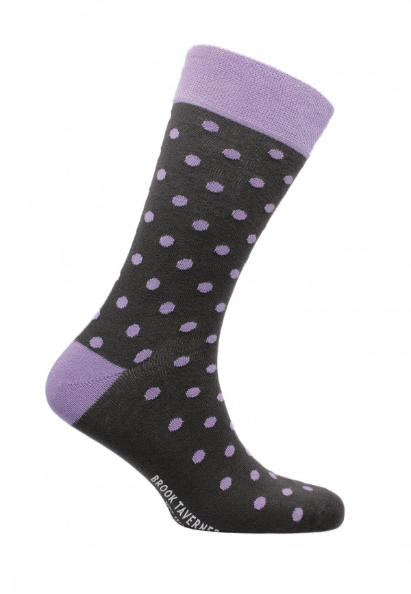St Ives Charcoal with Lilac Spot Sock