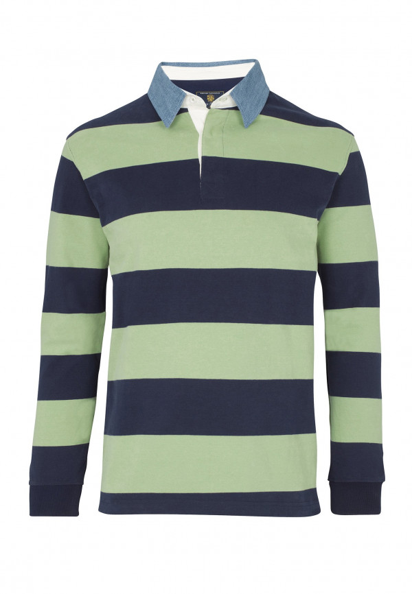 Runswick Navy and Apple Hoop Cotton Rugby Shirt