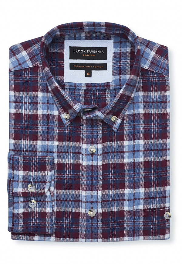 Long Sleeve Wine, Navy and Blue Check Soft Touch Oxford Button Down Collar Shirt