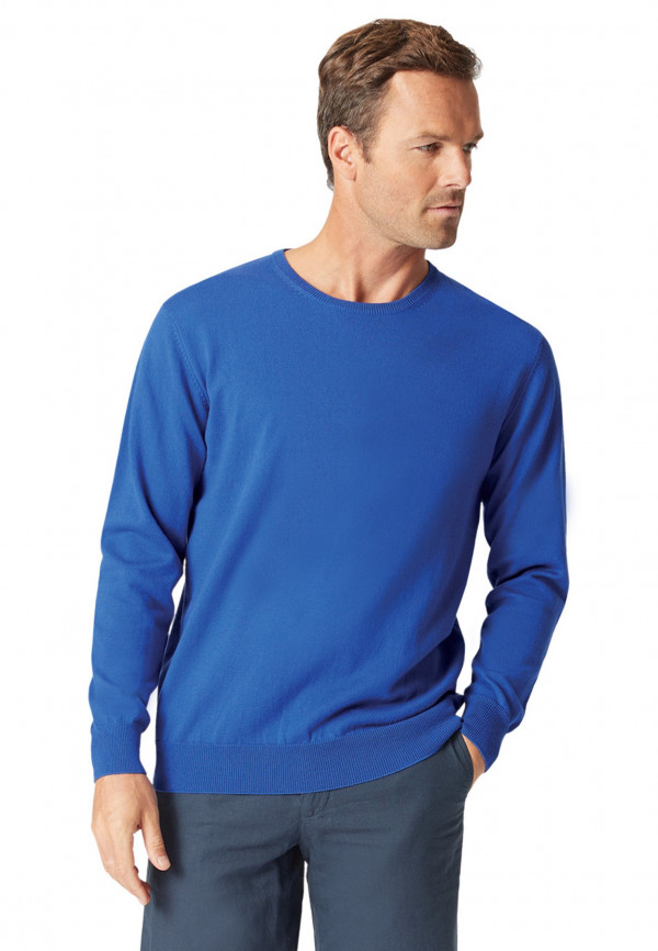 Aylsham Electric Blue Luxury Cotton Merino Crew Neck Sweater