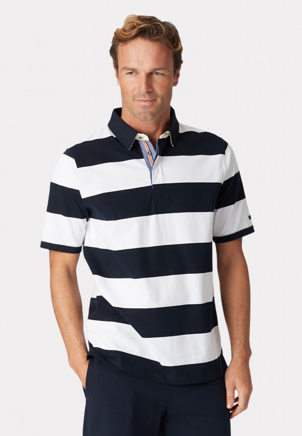 Sale Short Sleeve Navy and White Stripe Cotton Jersey Rugby Shirt