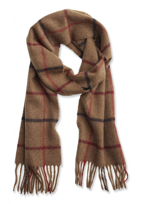 Camel, Wine and Blue Check 100% Lambswool Scarf