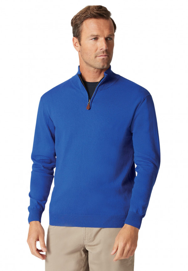 Taverham Electric Blue Luxury Cotton Merino Zip Neck Sweater