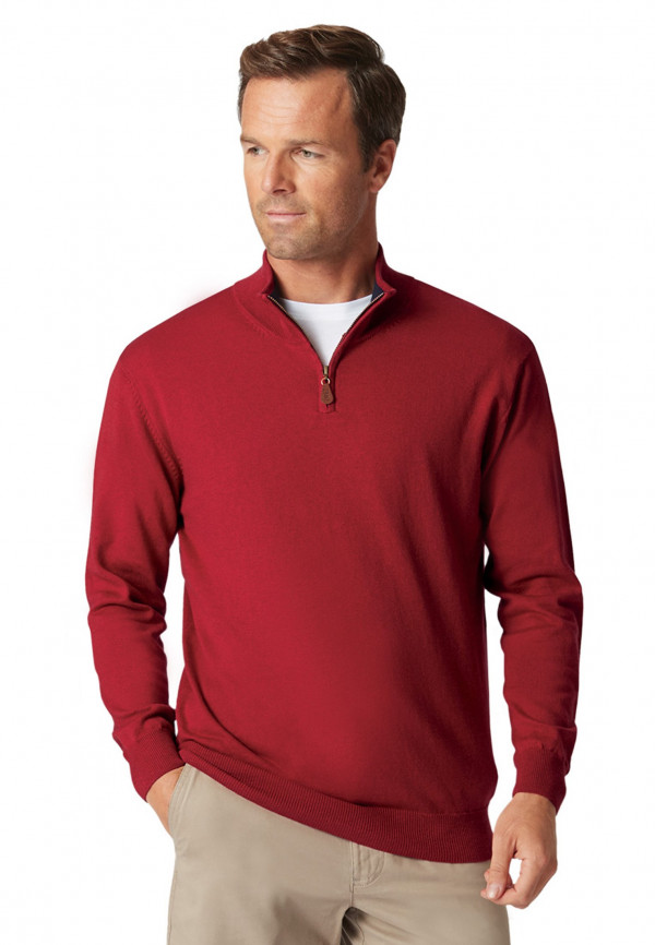 Taverham Claret Luxury Cotton Merino Zip Neck Sweater